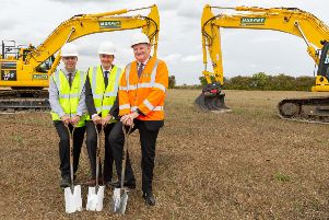 Pictured at the breaking-of-ground ceremony are (from left) Phil Manley, Project Director for Siemens Transmission and Distribution; Julian Garnsey, Project Director Triton Knoll Offshore Wind Farm; and John Murphy, CEO J Murphy & Sons Ltd. ANL-181109-081400001