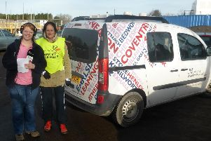 BBC Coventry and Warwickshire presenter Sally Johnson with Octavian Droober Karin Kirk.