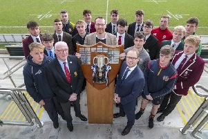 Ulster Branch President Stephen Elliott (left) Jonny Petrie Ulster Rugby CEO and Richard Caldwell representing sponsors Danske Bank with the school captains after the draw for the 4th round of the Ulster Schools Cup held at Kingspan Stadium
