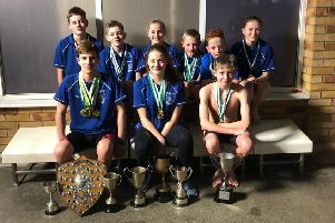 Pictured are: Back row, from left -Thomas Bruce, Alfie Bisby, Evie Garrard, Oscar Goldsmith, Stefano Fiore, Elizabeth Burt; Front row - Rico Bringeman (junior champion) Kieva Clegg (champion), Joseph Vickers (junior champion).