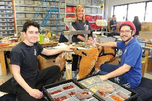 Jack Diprose, Kamila Stahlavska and James Diprose all work as builders at Bright Bricks in Bordon. Picture: Habibur Rahman
