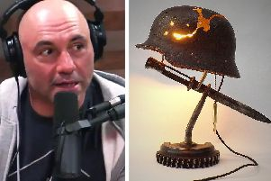 Joe Rogan, pictured with the 'Battle Lamp' which he bought from Boston artist Shane Martin.