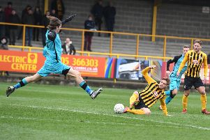 Boston United v Chorley, football action.