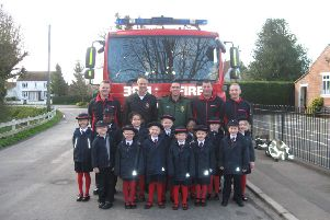 Pupils at Bicker Preparatory School and Early Years with members of Lincolnshire Fire and Rescue Service.