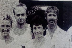 Members of Glenarm Badminton Club who formed a team for the Glenarm Festival Senior Challenge. 1989