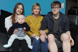 Hilary Mills with her family, Becky Mills with Jenson, 7 months, Hilary Mills and her other son, Bradley Mills'Picture: Habibur Rahman