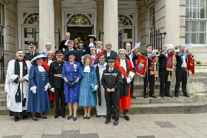 The new High Sheriffs of West and East Sussex at their declaration ceremony at Lewes Crown Court. Picture by Andrew Mardell