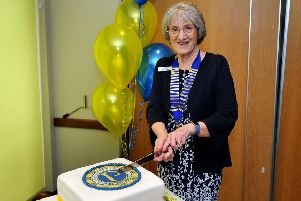 Littlehampton Probus Ladies Club president Jill Jacobs cuts the cake. Picture: Steve Robards SR1907817