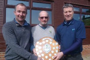 Mens Winter Series winners Shane Rowett and Neil Chennery With 2018 Captain Barry Hunt.