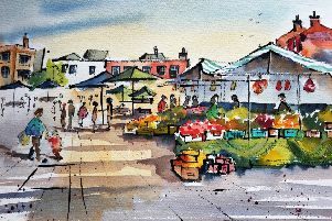 Karin Christensen created this painting, entitled Saturday Market. EMN-190804-202735001