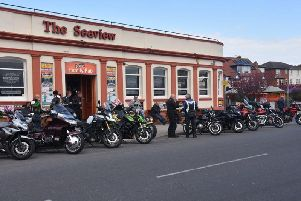Bikers gathered outside the Seaview pub in Skegness. Photo: Barry Robinson.