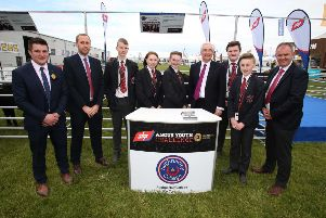 ABP Angus Youth Challenge Finalists, Aughnacloy College pupils Jack Todd, Kirsty McNeill, Molly Bradley, Jordan Anderson and Aaron Bristow pictured on the Cattle Lawn at Balmoral Show recently with their teacher Jonny Moffett; Stuart Cromie, ABP Graduate Management Trainee, Paul Clark, prize-giving compere and Charles Smith, Northern Ireland Angus Producer Group