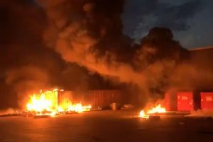 The fire broke out in Diplocks Way, Hailsham. Still from video by Josh Meaton