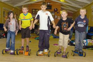 Pictured (from left) Kyra Partridge, five, Jason Grantham, nine, Callum Hazelwood, nine, George Wright, seven, and Callum Winchester-Wright, nine.