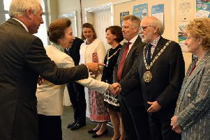 The Princess Royal meets the Mayor of Rugby, Cllr Bill Lewis, introduced by the Lord Lieutenant of Warwickshire Timothy Cox
