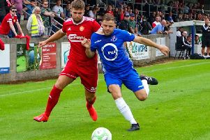 Portadown's Adam Salley (left) tussles with Fra Brennan of Loughgall on Saturday at Lakeview Park. Pic by Brian McStea.
