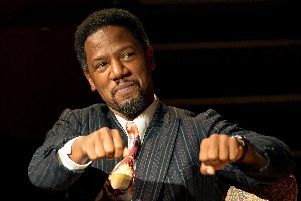 Tory Kittles as Paul Robeson in 8 Hotels at Chichester Minerva Theatre, August 2019. Picture: Manuel Harlan.
