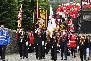 The head of the parade makes its way along the city walls. Pics by Keith Moore
