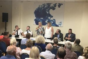 The public meeting last week, with Heather and Maxine flanked by the MP Matt Warman, council leader Aaron Spencer, and senior police officers including chief constable Bill Skelly. Picture from Cllr Spencer's Facebook page