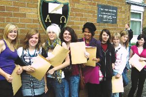 St Bede's pupils on GCSE results day 10 years ago.