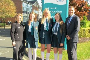 Left to Right: Mrs Gemma Todd (Teacher i/c Girls� PE), Hannah Spence, Hannah Buchanan, Jodie Simmons, Mr Robin McLoughlin (Headmaster)