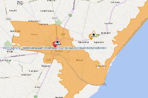 The wider area covered by the flood alert