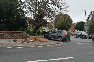 The car collided with the wall at the Moatcroft Road junction