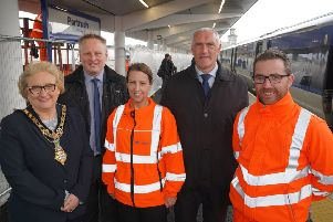 Mayor of Causeway Coast and Glens Council Brenda Chivers along with Richard McAuley, Department for Infrastructure, Louise Sterritt from Translink, William Cameron from Department for Communities and John Deery from Graham Construction view the completed platform at Portrush Train Station. Photo by Aaron McCracken