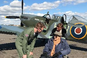 Bob Morrell chatting with Spitfire pilot Jack Rann