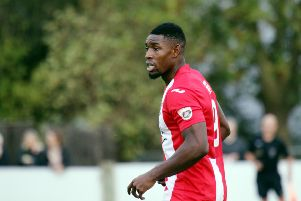 Lee Ndlovu was on target for Brackley Town at Stockport County
