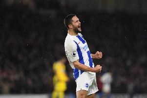 Florin Andone celebrates after putting Brighton & Hove Albion 3-0 up on the stroke of half-time on Tuesday night. Picture by PW Sporting Photography