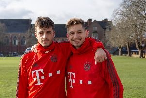 Bayern Munich's goalscorers Alexander Nollenberger and Daniel Jelisic at Ardingly College