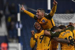 Brighton celebrate a goal in their FA Cup fourth round replay win at West Brom. Picture by PW Sporting Photography