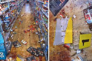 The aftermath of the fight in a Hove supermarket