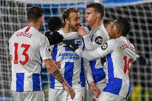 Brighton celebrate a goal in their win against Crystal Palace. Picture by PW Sporting Photography