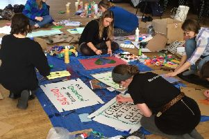 Students preparing for the  Youth Strike 4 Climate march SUS-190213-164033001