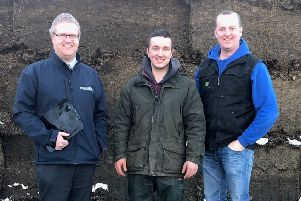 Silage making competition winner Matthew Gault pictured with judges Ronald Annett from John Thompson and Sons Limited and Roger McCracken from Ballywalter YFC