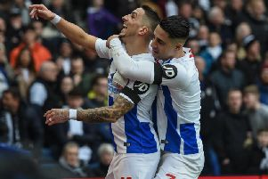 Anthony Knockaert celebrates his goal with Beram Kayal. Picture by PW Sporting Photography