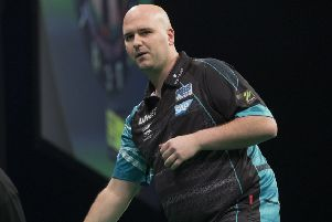 Rob Cross reached the semi-finals of Players Championship Four in Wigan yesterday. Picture courtesy Lawrence Lustig/PDC