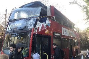 The damaged bus (Credit: @TommyRaiss)