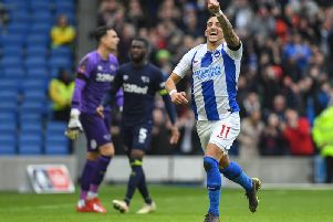 Anthony Knockaert celebrates scoring in Brighton's FA Cup win against Derby on Saturday. Picture by PW Sporting Photography