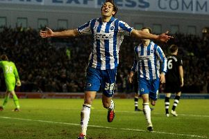 Will Buckley celebrates scoring for Brighton at the Amex.