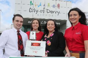 Pictured back in September 2018 are Charlene Shongo and Maressa McGilligan of City of Derry Airport with Sam Talbot and Hannah Campbell of Loganair'.