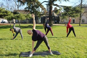 Yoga in the Pump Room Gardens.