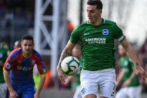 Lewis Dunk in action at Crystal Palace on Saturday. Picture by PW Sporting Photography