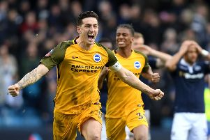 Lewis Dunk celebrates Brighton's penalty shoot-out win at Millwall. Picture by Mike Hewitt / Getty Images