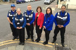Cllr Gill Mitchell with the council's environmental enforcement team
