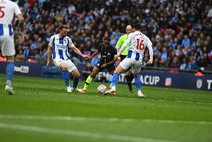 Raheem Sterling takes on Dale Stephens and Alireza Jahanbakhsh. Picture by PW Sporting Photography