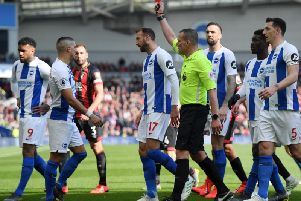 Anthony Knockaert is sent off against Bournemouth. Picture by Getty Images