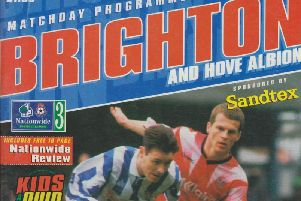 The front cover of the programme when Brighton met Cardiff in 1997.